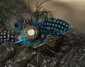 Steam punk peacock key hair clip