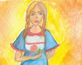 Braids and a Rose Sunshine girl Original WAtercolor