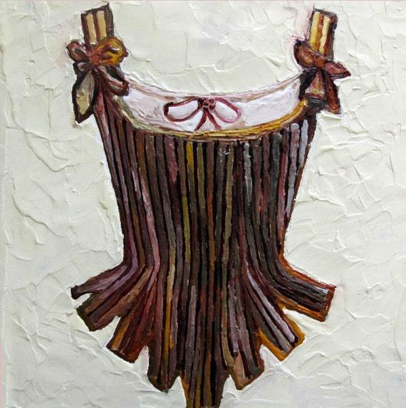 fine art photograph print Encaustic Beeswax Corset Gold Plum Brown w Bow