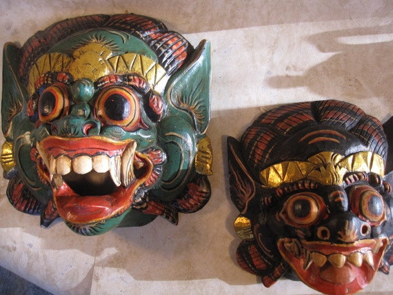 Pair of Vintage Indonesian Hand Carved Wood Barong Masks