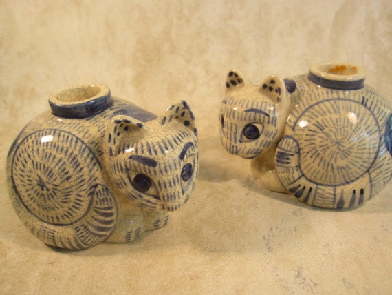 Vintage 1978 Nacy Lopez Blue and White Cat Candleholders