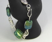 Wire Wrapped Beaded Bracelet with Lampwork Beads and Jade