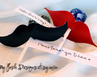 Mustache and Lips PRINTABLES for Suckers Valentine's Day Wedding or Birthday Party Gifts Favors Instant Download