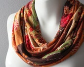 Jersey Infinity Circle Scarf Brown, Orange, Green, Beige, Red