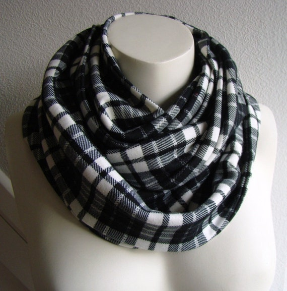 Jersey Infinity Circle Scarf Black/White Plaid, Long