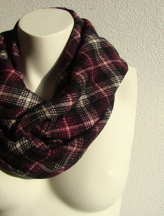 Jersey Circle Scarf Cowl Infinity Loop Tube Scarf Black Purple White Plaid Checkered Unisex Scarf