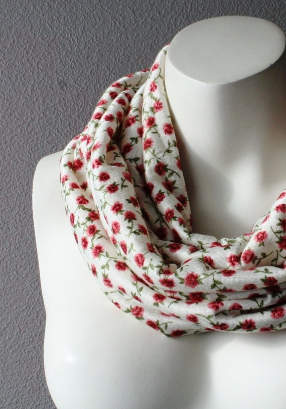 Floral Jersey Infinity Scarf Circle Loop Tube Cowl Scarf Pink Flower Roses White Scarf Winter Accessories