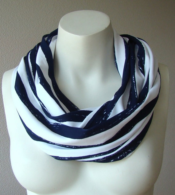Sailor Infinity Scarf Circle Necklace Cowl Loop Tube Scarf  Striped Blue White Sailor Scarf