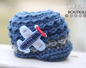 Airplane Newsboy Hat - Size Newborn