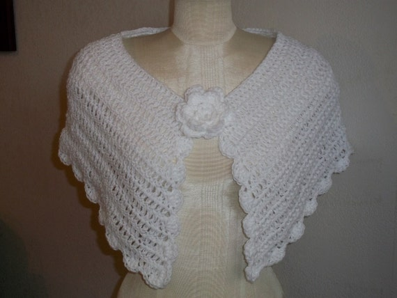 SALE - Victorian Inspired Delicate Sparkly Crocheted Capelet with Flower Applique OSFM One Size Fits Most . color : Snowflake Glitter White