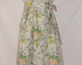 Maine Girl Eco Fashions Upcycled. Repurposed. Flirty Strapless Dress. Vintage Church Flowers Print