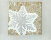 "Snowflake Recycled Paper Mixed Media Mosaic Art ""The First Snowflake"" original art by Lauren Snyder"