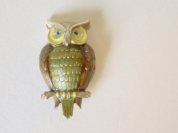 Cute Vintage 1950's WISE OLD OWL  Pin