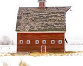 BARN SERIES NO.2, Red Barn in Winter, Montana, Etsy - Beautiful 7 x 7 Archival Giclée Print, Signed, also sells as a 5 x 5 notecard