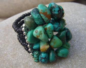 Chunky Turquoise Ring - Beaded Gemstone Ring - December Birthstone - Custom Band - Handmade