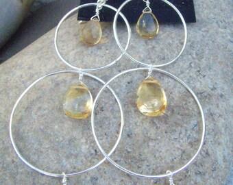 Citrine Earrings - Sterling Silver Hoop Earrings - Long Dangle Earrings - November Birthstone