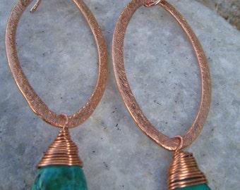 Copper Turquoise Earrings  - Copper  Earrings - Marquise Earrings - December Birthstone - Two Sizes