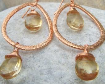 Citrine Earrings - Copper Dangle Earrings - November BIrthstone -  Champagne Earrings - Hammered