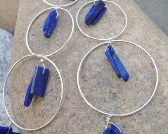 Long Earrings - Blue Lapis Earrings - Sterling Silver Hoop Earrings - Hoop Dangle Earrings