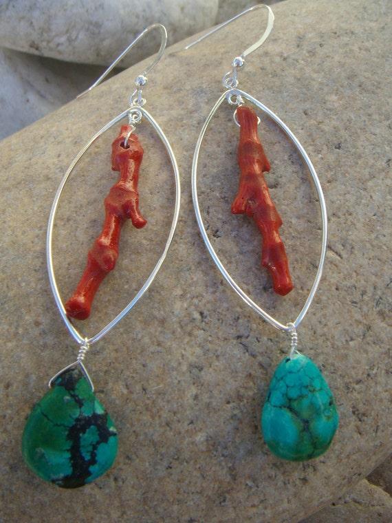Red Coral Turquoise Earrings - Red Blue Earrings - Long Dangle Earrings - Sterling Silver Marquise Medium