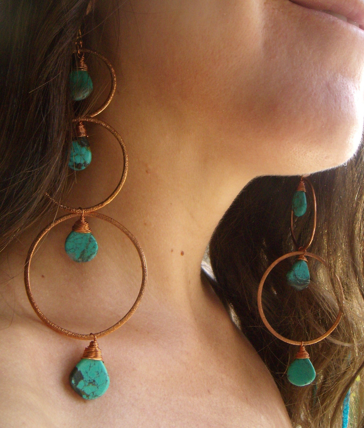 extra long dangle earrings turquoise hammered copper. Black Bedroom Furniture Sets. Home Design Ideas