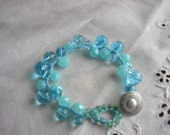 Boho Chic Beachy Crochet Bracelet, Carribean Ocean Blue & Turquoise Beads With Concho Button STUNNING