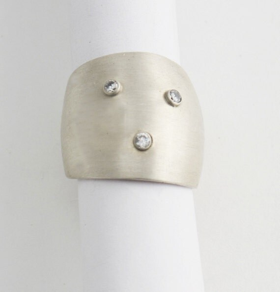 3 Sapphire Brushed Silver Ring