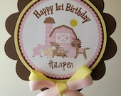 NEW...Pink and Yellow Girly Farm Collection Cake Topper
