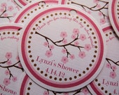 Set of 12 Personalized Favor Tags -Cherry Blossom -Thank You Tag -Gift Tag -Baby Shower -Birthday Party -Bridal Shower -Pink