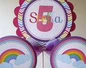 Personalized 3 Piece Centerpiece -Colorful Rainbow- Chevron-Birthday -Baby Shower -Table Decoration -Candy Dessert Table