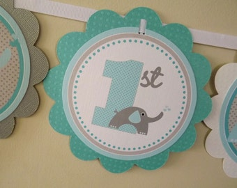 NEW...Blue and Grey Elephant Heart Collection: Word Banner