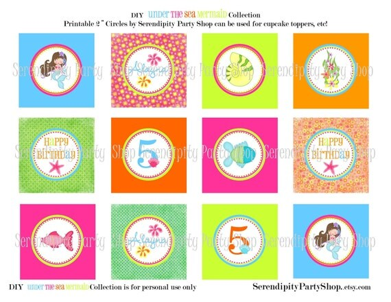 "Printable Under the Sea Mermaid 2"" Party Circles by Serendipity Party Shop"