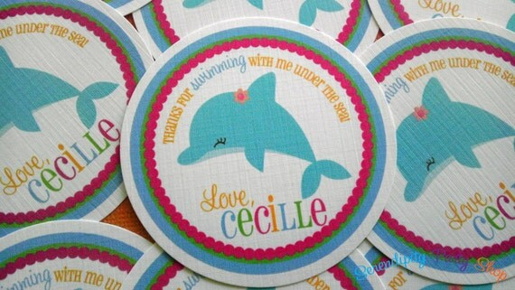 BRIGHT Dolphin Collection Favor Tag- Pick Your Friend