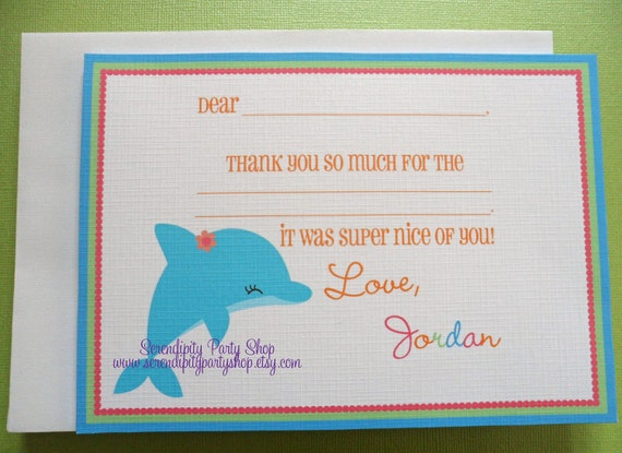 Dolphin Thank You Notecard -Digital File