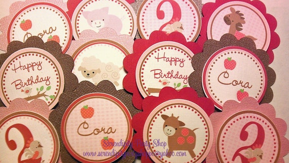 Red and Pink Girly Farm Theme Cupcake Toppers