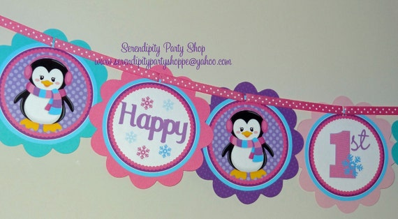 Jeweled Penguin: Word Banner USE for birthday, baby shower, celebration