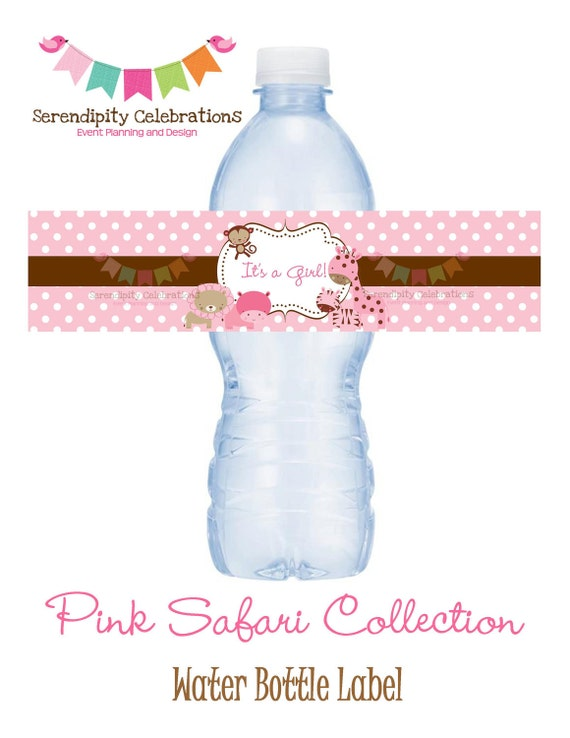 NEW...Pink Safari Collection Water Bottle Label -Digital File