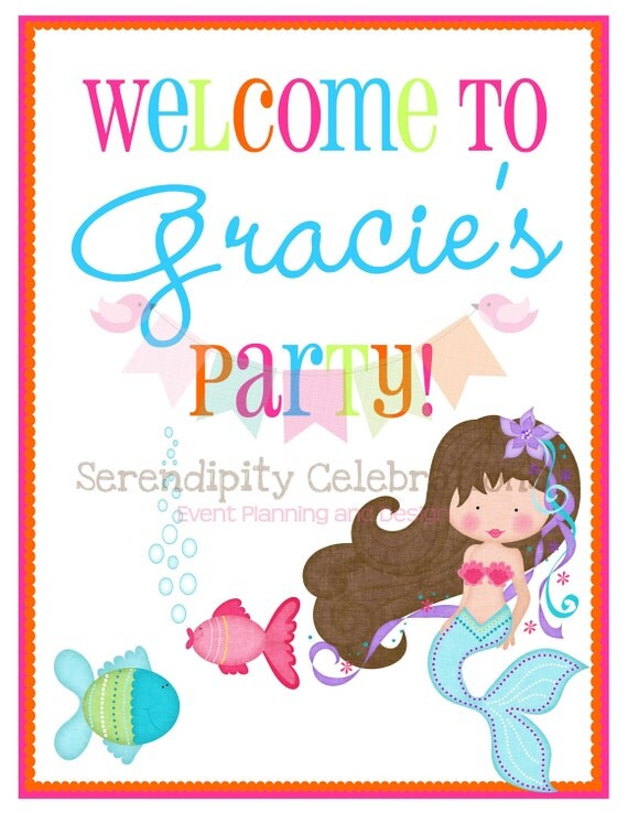 New...Under The Sea Mermaid Collection Printable Door Sign -Digital File