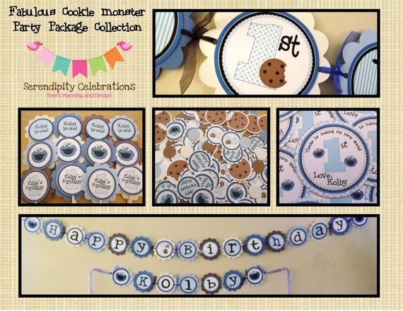 Fabulous Cookie Monster Collection Party Package Custom Made For You