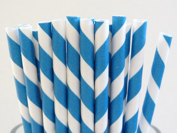 NEW to Serendipity Party Shop- Blue Striped Paper Straws