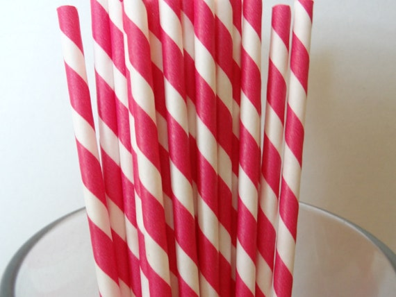 NEW to Serendipity Party Shop- HOT PINK Striped Paper Straws