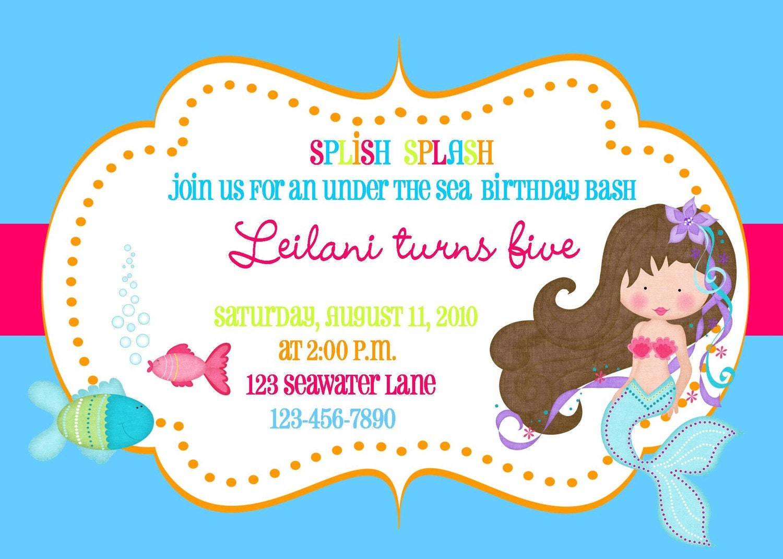 Little Mermaid Birthday Invites with adorable invitation example