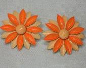 Mod era Earrings, DayGlo Orange Clip On Daisy Flower, Cute Hippie Relics