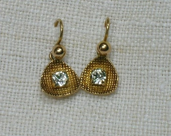 Clear Rhinestone Earrings: Mid Century, 9K Yellow Gold, Made in England