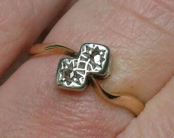 Antique Engagement Ring, Platinum Diamond & Rose Gold, Art Deco 20s