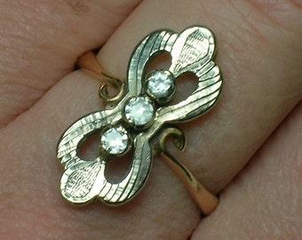 Vintage Soviet era 583 Russian Pink & White Gold Fianit Ring. Yerevan, Armenia. Size 7 1/2