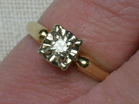 Vintage Engagement Solitaire Ring: Petite Two Tone Classic, 1950