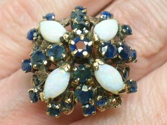 Vintage Mod 1960s Thai Princess Ring Sapphire Amp Opal