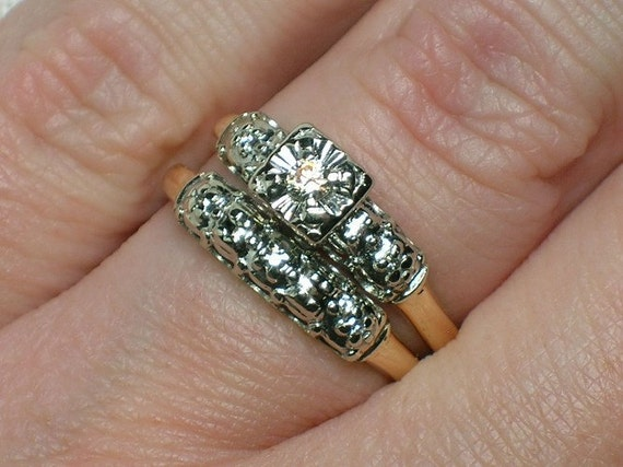 Vintage Wedding Ring Set 1950s Two Tone