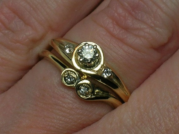 Vintage Wedding Rings Set: Abstract Bubbles, 1970s